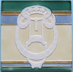 Antique German Jugendstil Tile - Mugeln. Nice abstract design from the German maker Mugeln in five different glaze colors.