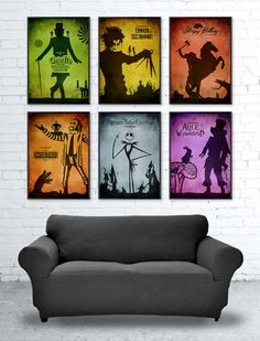 Tim Burton Movie Poster Set / 6 Posters / Sleepy Hollow, Beetle Juice, Scissorhands, Alice in Wonderland, Nightmare Before Christmas etc.