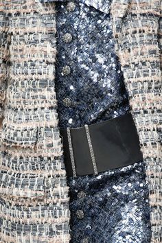 Glorious Texture Mix - rough woven textiles juxtaposed with smooth & glossy sequins; closeup fashion details // Chanel Couture