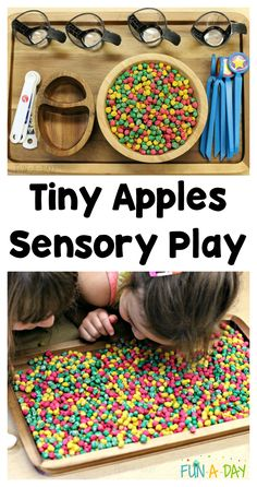 Colorful Apple Sensory Play to Engage Your Preschoolers A fun fine motor and sensory play for fall- tiny apple tray! A fun way to incorporate the season into a toddler or preschool classroom! Tactile Activities, Early Learning Activities, Apple Activities, Autumn Activities, Preschool Activities, Preschool Apple Theme, Fall Preschool, Preschool Kindergarten, Sensory Tubs