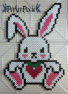 Kawaii Heart Bunny by PerlerPixie