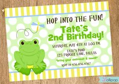 FROG Printable Invitation, Personalized FROG Birthday Invite, Birthday Boy, Baby Shower Printable Invitations, Birthday Invitations, Printables, 1st Birthday Parties, Boy Birthday, Frog Frog, Frog Theme, First Birthdays, Invite