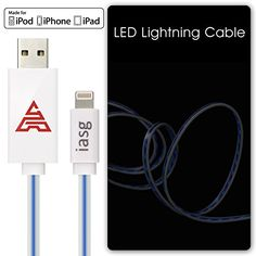 [MFi Certificated] iasg 8Pin Lightning to USB Cable Blue Visible Flowing LED EL Light Up Flat Data Sync & Charging Cable Super Fast Transfer Speed up to 480Mb/s for Apple iPhone 5 5c 5s 6 6 plus / iPad, iPad Air, MacBook Pro, MacBook Air, iPod touch 5th generation, iPod nano 7th gen. 1meter White and Blue Iasg http://www.amazon.com/dp/B00Y4KIWBQ/ref=cm_sw_r_pi_dp_ZdB0vb13KY256