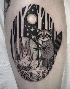 6ec38d8a0 Susanne Konig raccoon tattoo Tattoos Partner, Raccoon Tattoo, Camping Tattoo,  Girly Tattoos,
