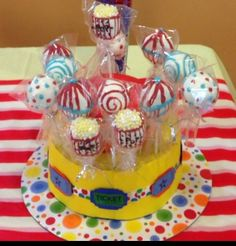 Carnival cake pops and cake pop stand