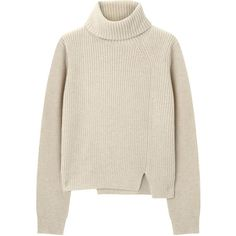 Proenza Schouler Beige High Neck Wool Blend Jumper (€215) ❤ liked on Polyvore featuring tops, sweaters, jumpers, shirts, ribbed shirt, proenza schouler sweater, cut-out tops, cutout sweater e ribbed sweater