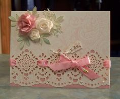 Beautiful Wedding Card with Satin Ribbon Flowers. $5.00, via Etsy.