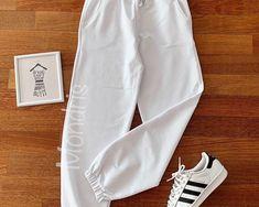 Pantaloni dama lungi albi cu elastic si buzunare