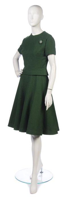 A Christian Dior Green Wool Skirt Ensemble,   Autumn/ Winter 1961