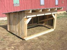 Sturdy 5'x8' portable run-in shed on skids, about 5' high to top of roof in front. Great for sheep, goats, mini horses, hogs, etc. Sided with white pine.