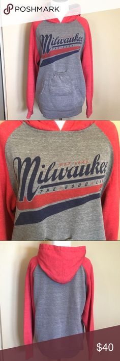 Milwaukee Beverage Pouch Hoodie Size S Excellent Condition!     You can carry around a beverage without tying up you hands! They are sold out online!            Here's their website:       http://www.brewcityonline.com/brewcity/product.asp?s_id=0&prod_name=+&pf_id=PAAAAADFIMCFPBNF&dept_id=5411 Brew City Shirts Sweatshirts & Hoodies