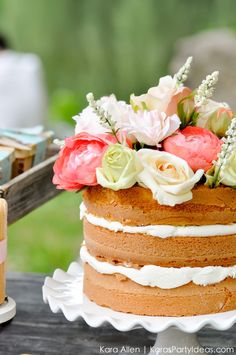 Floral naked cake! Picnic in the Park by Kara Allen | Kara's Party Ideas in NYC