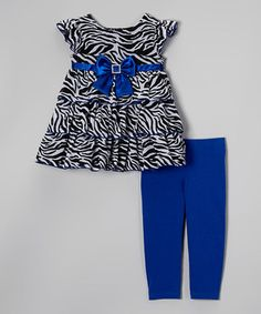 This Youngland Blue Zebra Ruffle Tunic & Leggings - Toddler & Girls by Youngland is perfect! #zulilyfinds