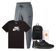 """hs outfit #8"" by trilogykennxo ❤ liked on Polyvore featuring NIKE and JanSport"