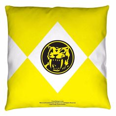 Power Rangers Yellow Ranger Licensed Decorative Throw Pillow Bed Couch #PowerRangers