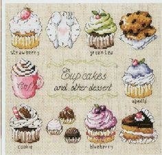 Cross Stitch Kits 14ct Counted Cross Stitch Kits Cup Cakes and other Dessert 12 by 12 inches