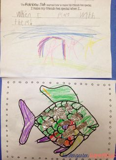 FREE Rainbow Fish Coloring and Writing Activity - Perfect for a Kindergarten or Grade Ocean Animals Unit Kindergarten Rocks, Kindergarten Activities, Classroom Activities, Classroom Ideas, Preschool, Free Activities, Writing Activities, Rainbow Fish Activities, Ocean Unit