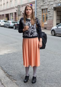 really like the stockings, shoes, and pleated skirt in a soft fabric - from Hel Looks - Street Style from Helsinki