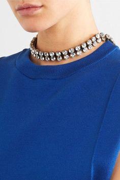 Balenciaga - Gold-tone Crystal Necklace - Metallic - one size