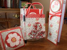 Set includes a Bag of 6 assorted cards, Post-It Note, Altered Jr. Legal Pad, and RSVP pen, using Everyday Enchantments DSP, Secret Garden stamps and Framelits, Fresh Vintage stamp, Poppy Red paper and ribbon