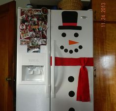 Snowman Refrigerator - I transformed my refrigerator into a Snowman for the holidays! I used felt for the scarf and card stock for everything else. I also glued…