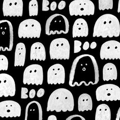 Boo! Happy Monday. I made a little  pattern and it's available as a tech wallpaper download on my blog (jenbpeters.com/blog) Halloween Illustration, Christmas Illustration, Halloween Backgrounds, Halloween Wallpaper, Halloween Prints, Spooky Halloween, Ghost Drawing, Sheet Ghost, Apple Watch Wallpaper