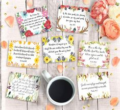 Digital & Printable Art, Bookmarks, Cards, & More by DownThePathCreations Printable Bible Verses, Scripture Cards, Printable Cards, Printables, Relief Society Theme, Bts Birthdays, Verses For Cards, Stickers, Collage Sheet