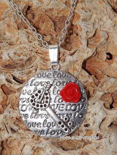Ellys Shop: Colier cheie, love si floare rosie din rasina Pendant Necklace, Handmade, Jewelry, Fimo, Hand Made, Jewlery, Jewerly, Schmuck, Jewels