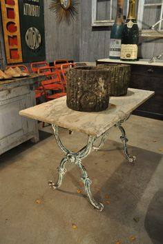 1900 French Green Garden Table with Marble Top 3
