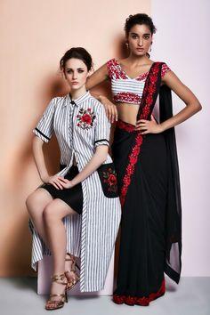 BRW dress with a mini skirt (L) BRW Concept saree (R)