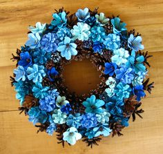 Handmade Natural Earthy Shades of Blue Pine Cone Wreath by EacArt