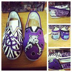 Hand painted Abilene Christian university toms. Except instead of zebra I would do leopard... Dah!