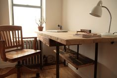 Adjustable Stand Up / Sit Down Desk Made of Reclaimed Wood with Iron Legs
