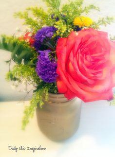 painted mason jars with fresh flowers