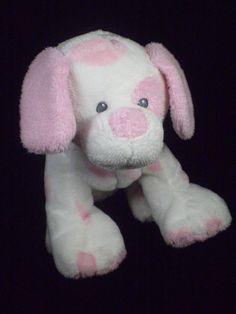 "TY Pluffies 8"" Lovesy White Pink Puppy Dog 2006 Beanie Baby Plush Sewn Eyes"