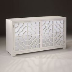 "Rectangular credenza with lacquered white finish, two doors with mirrored panels and openwork design, one shelf inside; 67¾"" w. x 20"" d. x 38"" h. DecorativeCrafts.com #DecorativeCrafts #Chests #Chest #Cabinet #Cabinets #Imported #InteriorDesign #Interior #Design #InteriorDecor #Decor #Furnishings #Furniture #Opulent #Luxurious #Designer"