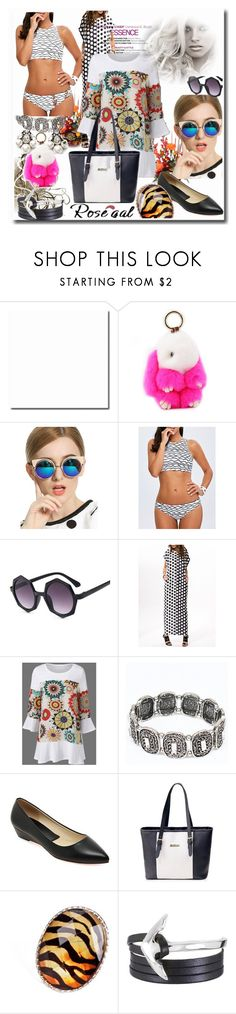 """Wave Pattern High Neck 2 Piece Swimsuit"" by ane-twist ❤ liked on Polyvore"