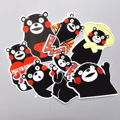 8pcs/lot Cartoon Japan Cute Bear Kumamoto Sticker For Car Laptop Luggage Skateboard Phone Decal Kids Toys Stickers
