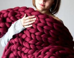 *** We offer FREE SHIPPING on orders over 350$ which arent on SALE- Coupon code FREE350 ***  On the pictures : Super chunky blanket (80x100 cm ; 32x40 inch), Antilles color Made from 19 microns (extrafine) merino wool. Very luxurious, warm, soft and pleasant for touch. Large stitches make it very interesting and unique. Enter a perfect accessory to your home. Will become a central detail of your home and will make it look even more beautiful. It will warm you up in the cold, winnter days and…