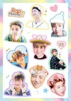 SU CARITA TODA PRECIOSAAA V: **Suficiente Nam en esta carpeta** Pop Stickers, Tumblr Stickers, Printable Stickers, Bts Namjoon, Bts Bangtan Boy, Bts Anime, Kpop Diy, Bts Face, Bts Merch
