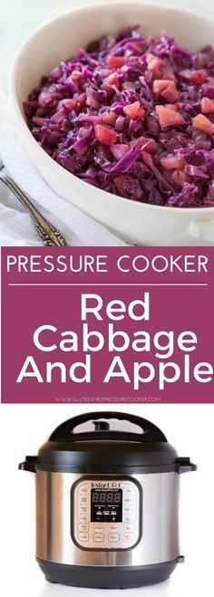 It's a breeze to cook my pressure cooker red cabbage and apple recipe in your Instant Pot or Electric Pressure cooker, it only takes 5 minutes, it's perfect to serve with most meats and of course it's gluten free, vegan, vegetarian, and low calorie, and has a paleo and vegan option. Instapot recipe