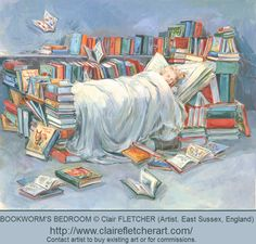 BOOKWORM'S BEDROOM © Clair FLETCHER (East Sussex, England). Bed made of Books, Book Pillow