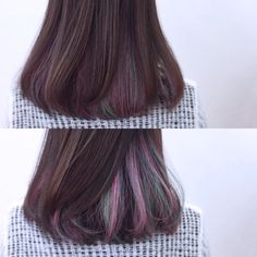 New Hair Bob Purple Colour Ideas Hairstyles With Bangs, Trendy Hairstyles, Hair Day, New Hair, Hidden Hair Color, Hair Color Purple, Ombre Colour, Purple Ombre, Hair Highlights