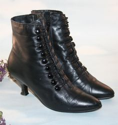 Steampunk  Vintage Victorian Romantic Black Leather Button up Granny Boots