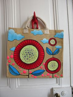 - Painted Canvas Bags, Hand Painted Fabric, Painted Burlap, Fabric Paint Designs, Sewing To Sell, Painted Clothes, Jute Bags, Cloth Bags, Fabric Painting