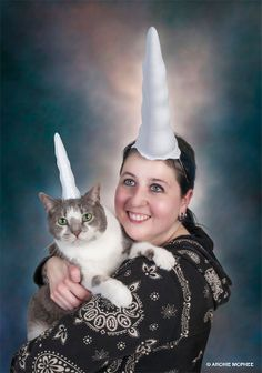 Inflatable Unicorn Horn for Cats. I would say something else but then again if your looking at this pic the way I am...you already know. ROFL