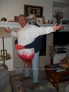 Frightening DIY Zombie Victim Illusion Costume… Coolest Online Halloween Costume Contest