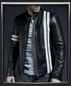 New Mens Biker Genuine Sheep Leather Slim Fit Bomber Party Jacket A380