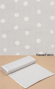 light weight Naomi Ito fabric with dots, Pocho cottonlight delicate double-layered gauze fabricsize of one of the biggest dots: ca. Michael Miller, Kawaii, Fabric Shop, Double Gauze Fabric, Couture, Creations, Dots, Delicate, Grey