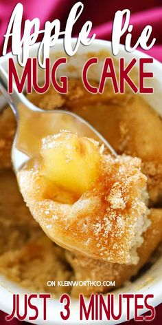 mug desserts Apple Pie Mug Cake, everything you love about cinnamon apple pie in an easy mug cake. Quick easy desserts dont get any better than this! Mug Recipes, Best Dessert Recipes, Apple Recipes, Baking Recipes, Sweet Recipes, Quick Apple Pie Recipe, Recipies, Kitchen Recipes, Recipes Dinner